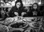Lorena and Sarah enjoy Lamb with spices, Chana Masala and Nan.
