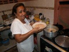 Maye with her signature dish Mote de Queso