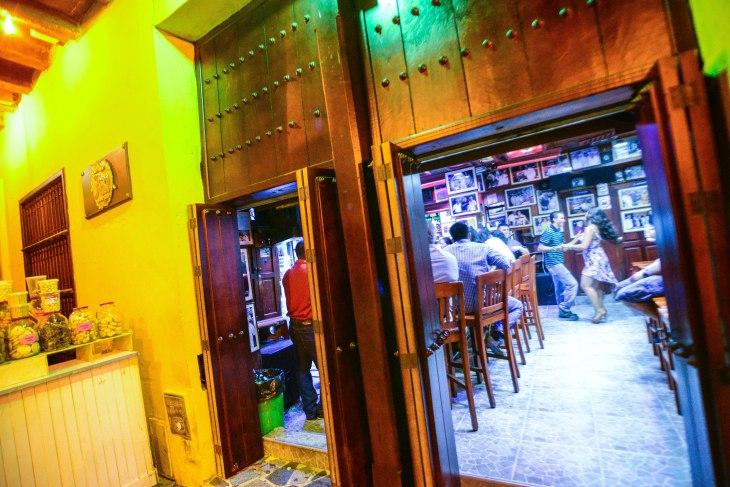 Dancers at Cartagena's Bar de Fidel. This bar located in La Plaza de los Dulces across the clock tower.